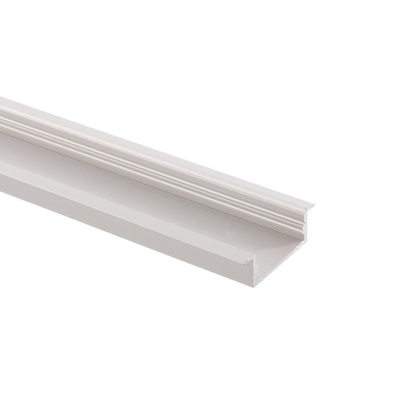 Perfil de Aluminio Empotrado 1m para Doble Tira LED