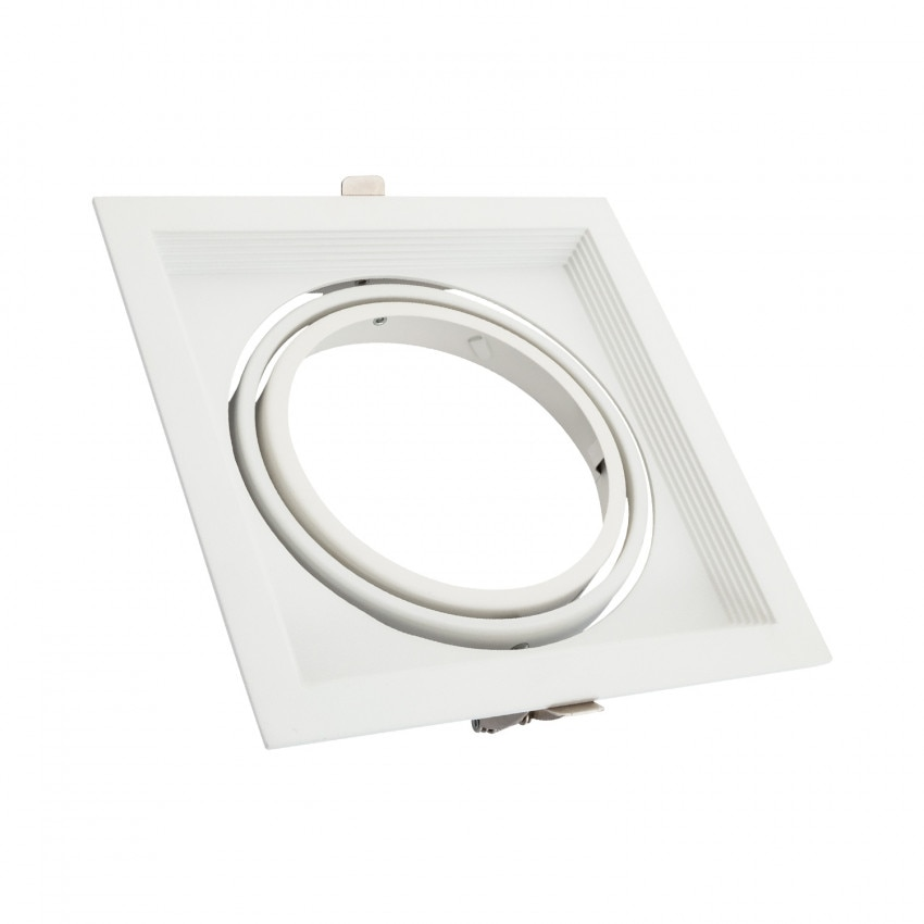 Aro Downlight Quadrado Basculante Aluminio para Lâmpada LED AR111 Corte 160x160 mm