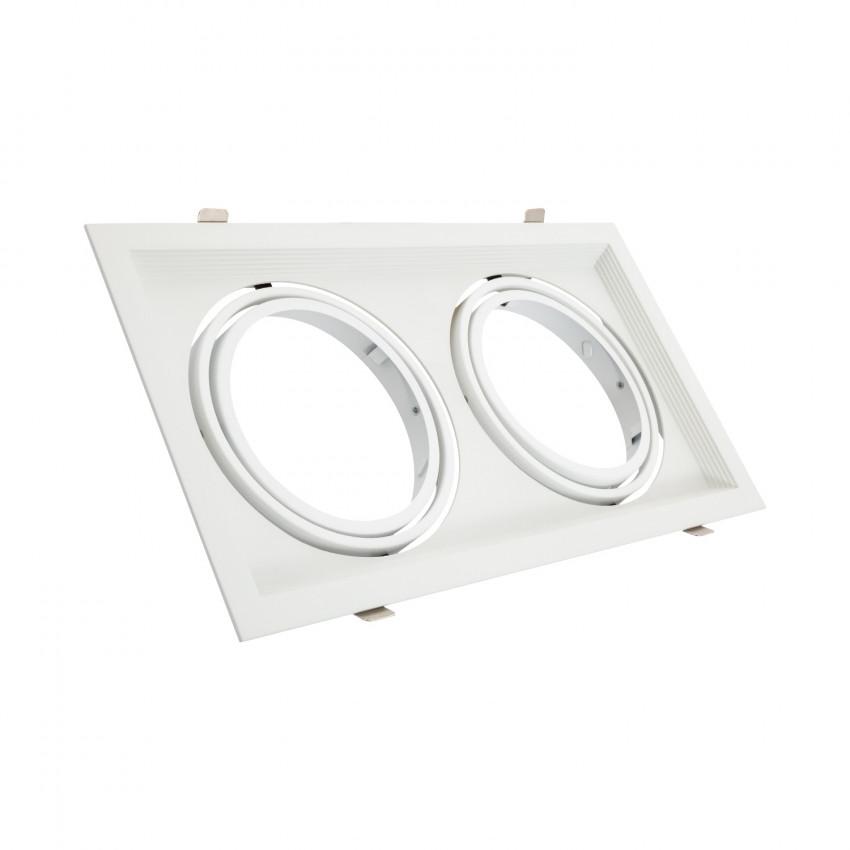 Aro Downlight Quadrado Basculante Aluminio para duas Lâmpadas LED AR111 Corte 160x310 mm