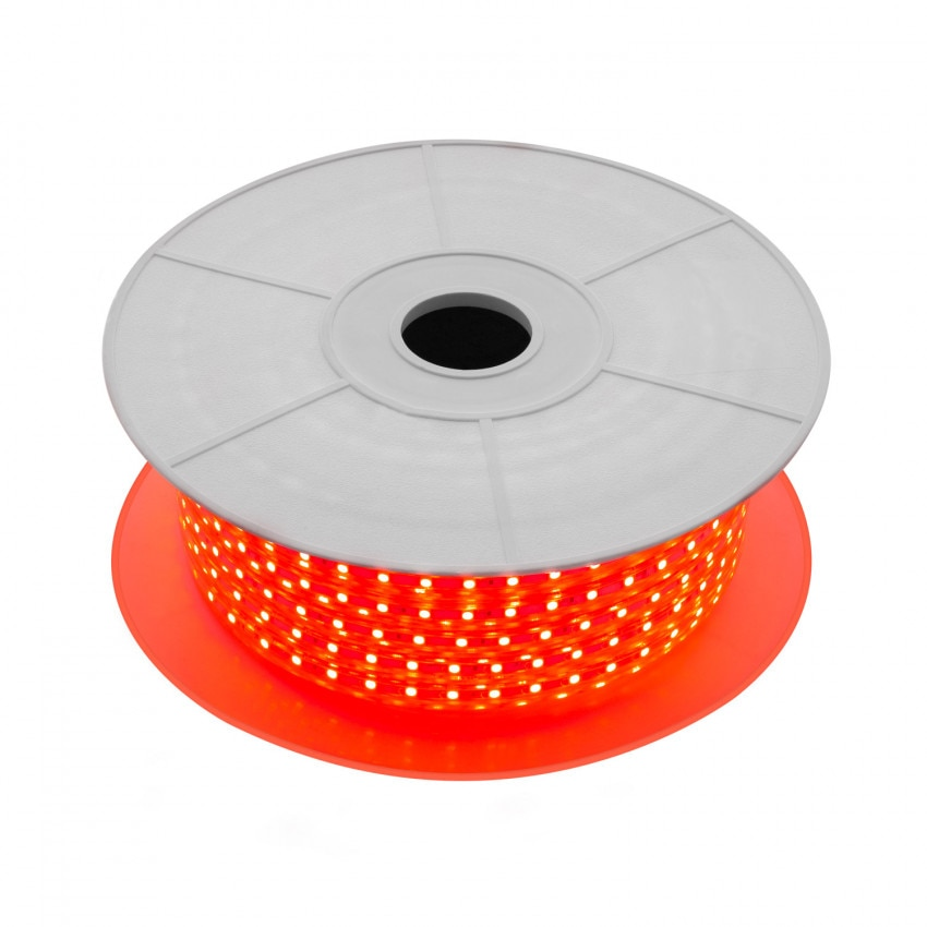 Bobina de Tira LED Regulable 220V AC 60 LED/m 50m Rojo IP65 Corte cada 100cm