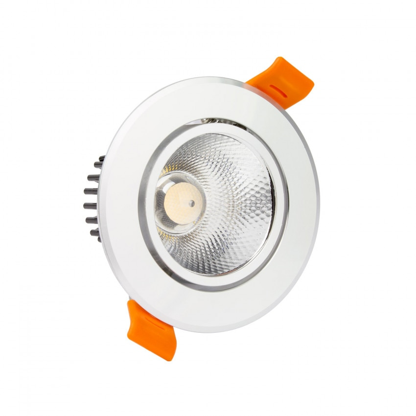 Foco Downlight LED COB Direccionable Circular 12W (UGR19) Plata Corte Ø 90 mm