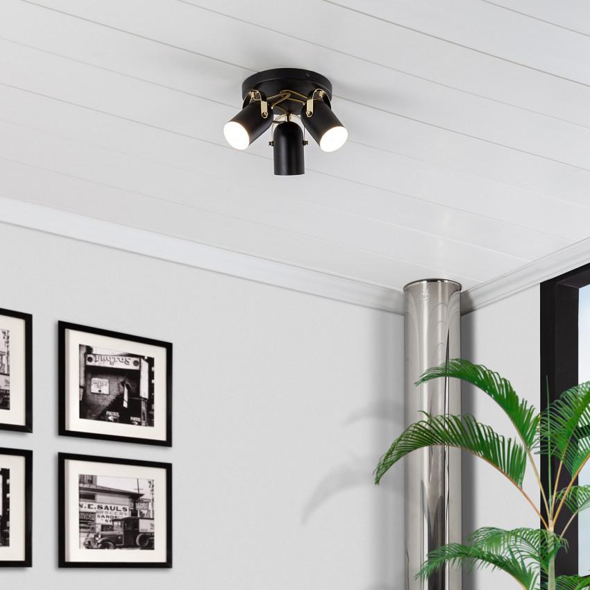 Lámpara de Techo Circular Orientable Cano 3 Focos Negro