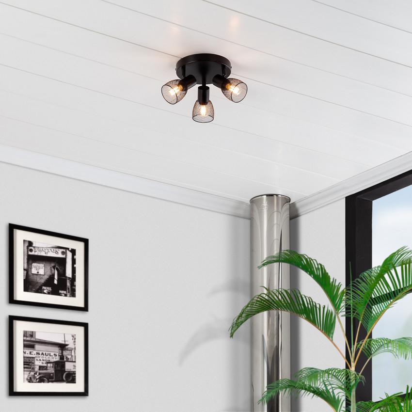 Lámpara de Techo Circular Orientable Grid 3 Focos Negro