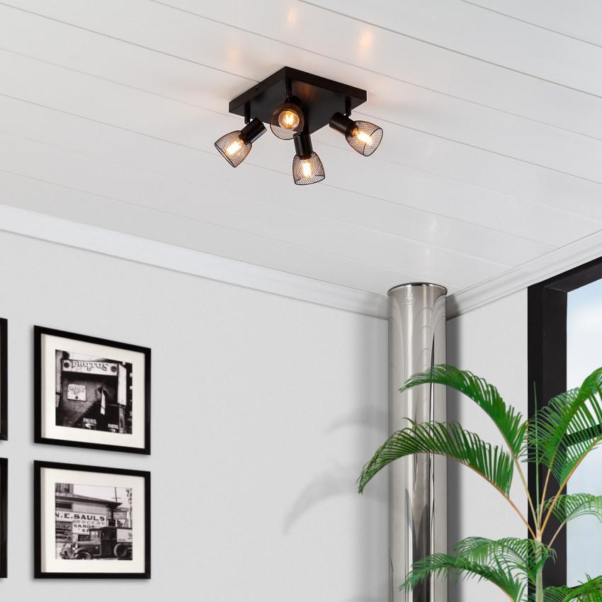Lámpara de Techo Orientable Grid 4 Focos Negro