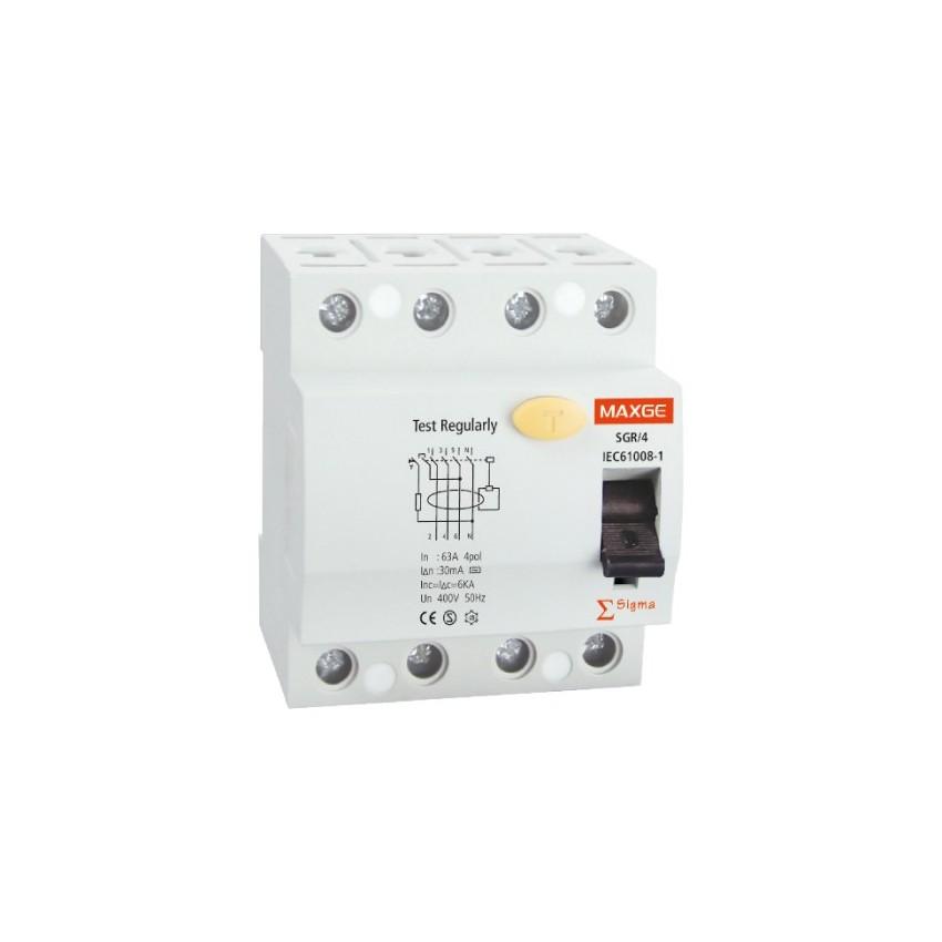 Interruptor Diferencial Industrial MAXGE 4P-30mA-Clase A-10kA Superinmunizado