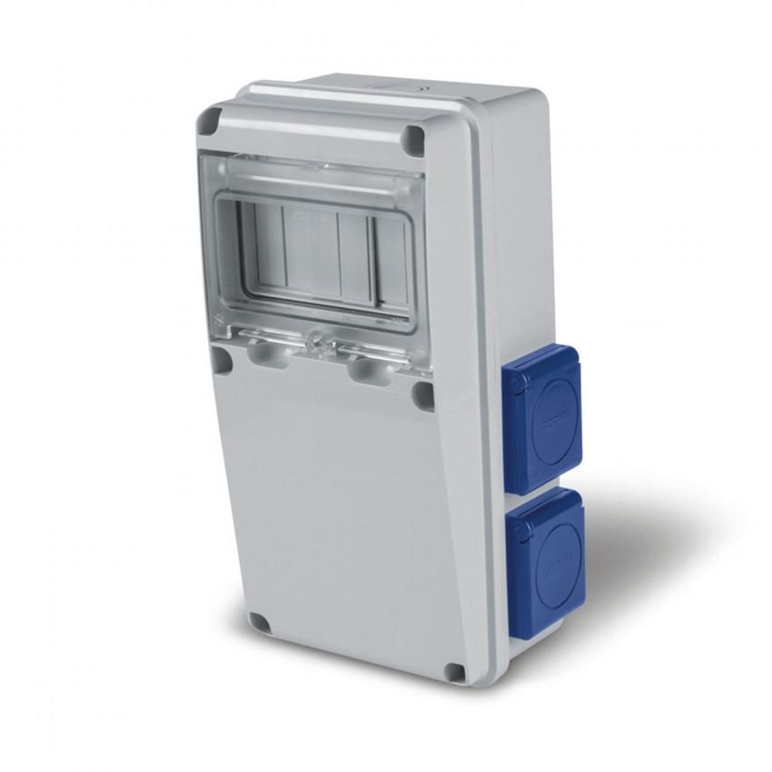 Quadro de Distribuição 6 Módulos DIN 4 Tomadas Tipo F IP54 Enerbox SCAME
