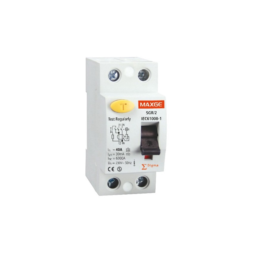 Interruptor Diferencial Industrial MAXGE 2P-40A-30mA-Clase AC-6kA
