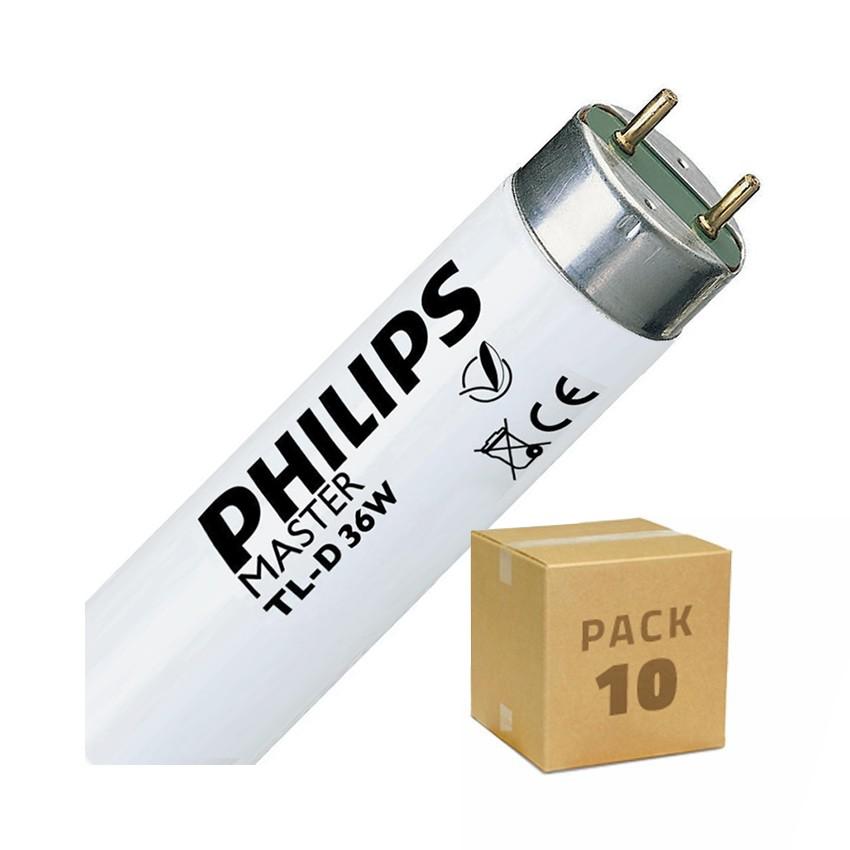 Pack Tubo Fluorescente Regulable PHILIPS T8 1200mm Conexión dos Laterales 36W (10 un)