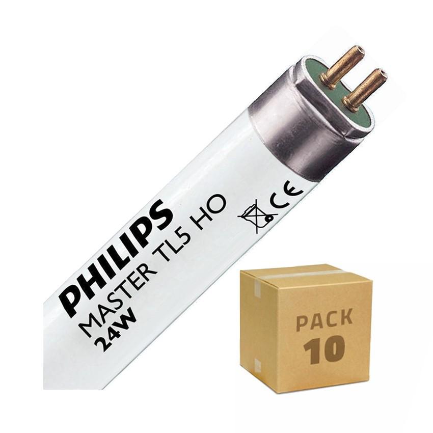 Pack Tubo Fluorescente Regulable PHILIPS T5 HO 550mm Conexión dos Laterales 24W (10 un)
