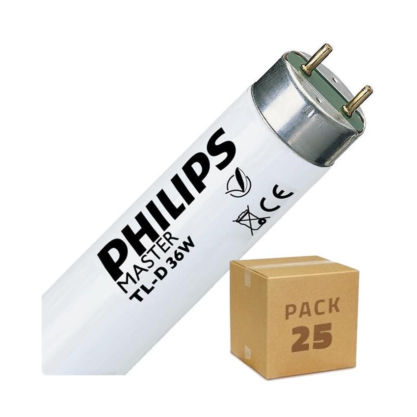 Pack Tubo Fluorescente Regulable PHILIPS T8 1200mm Conexión dos Laterales 36W (25 un)