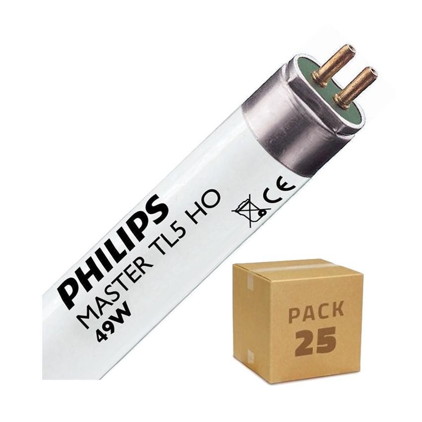 Pack Tubo Fluorescente Regulable PHILIPS T5 HO 1450mm Conexión dos Laterales 49W (25 un)