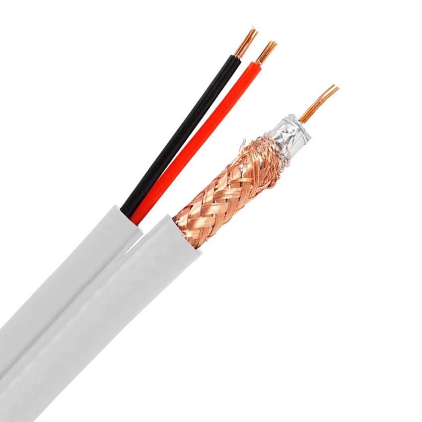 300m Cable Coaxial RG59 Cobre-Aluminio con dos Cables Eléctricos