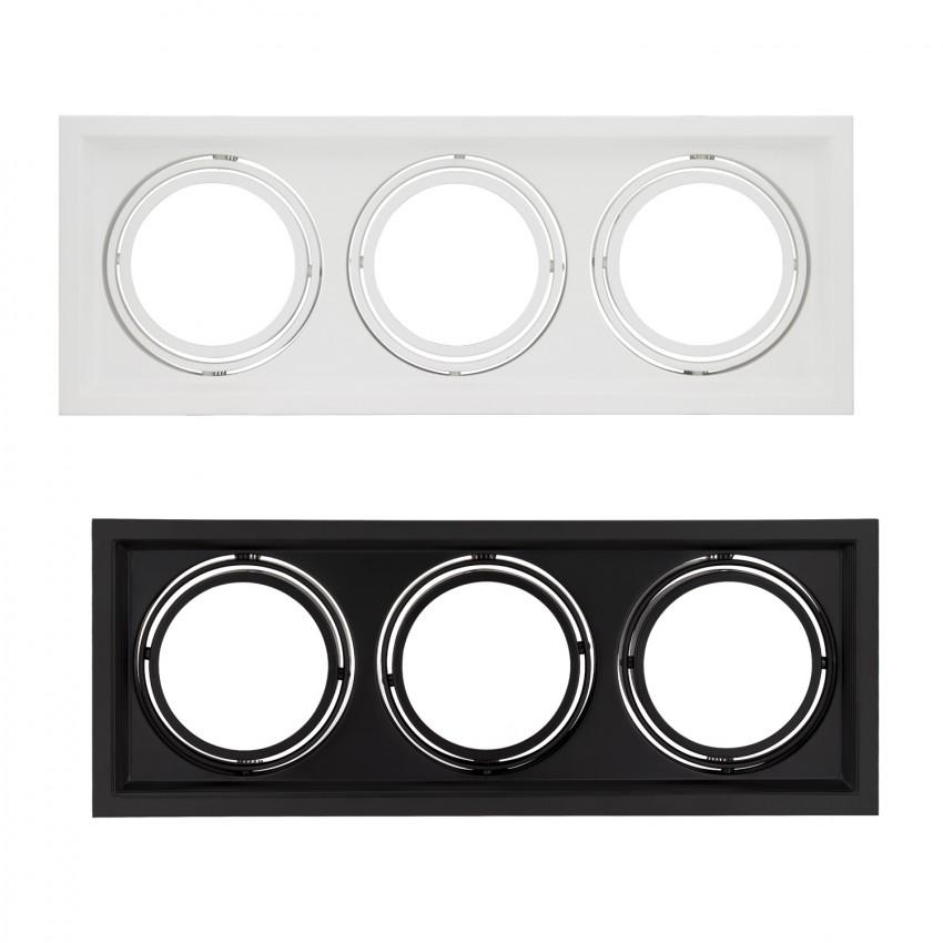 Aro Downlight Cuadrado Basculante para tres Bombillas LED AR111