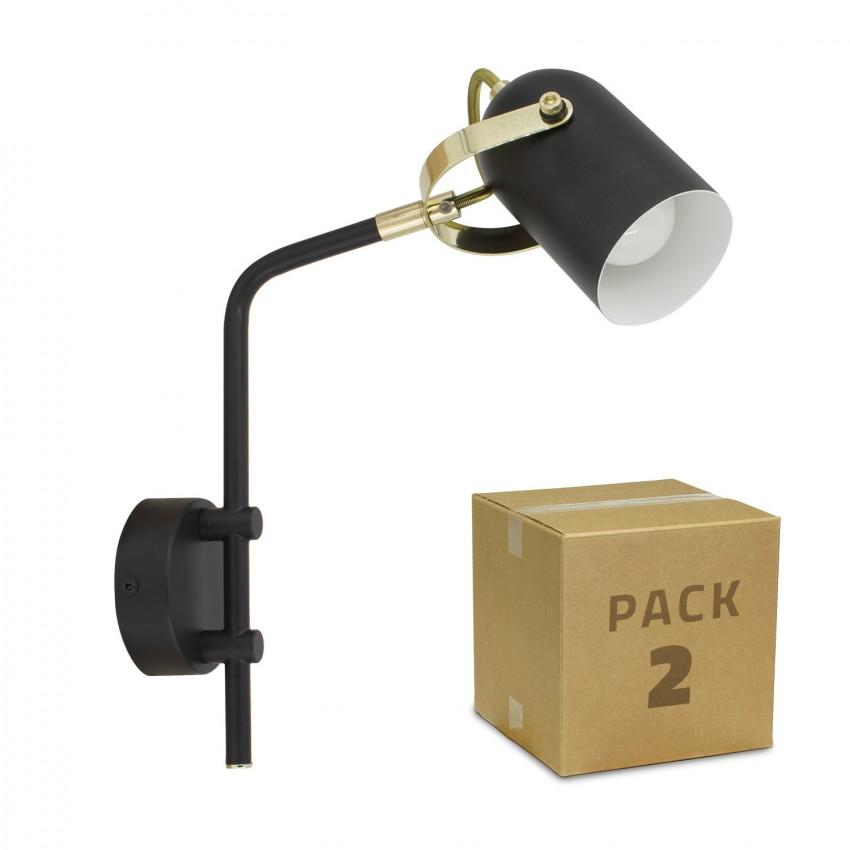 Pack Aplique Orientable Brazo Superior Cano 1 Foco Negro (2 un)