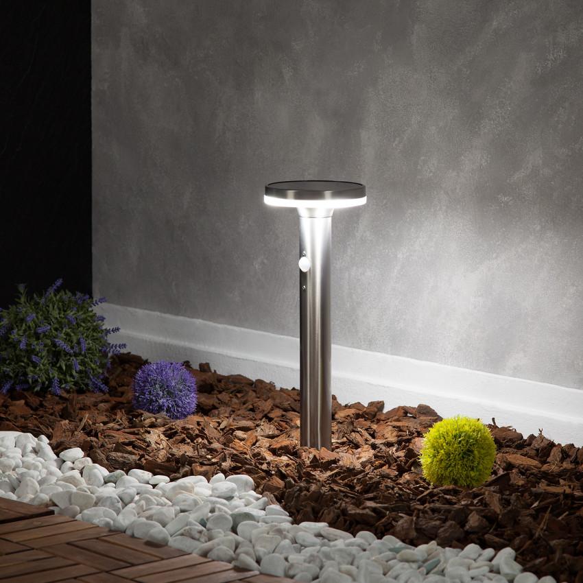 Baliza LED Solar Helios Inox com Detector de Movimento PIR