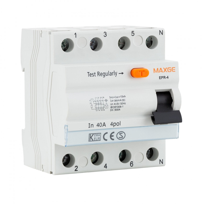 Interruptor Diferencial Residencial MAXGE 4P-300mA-Clase AC-6kA