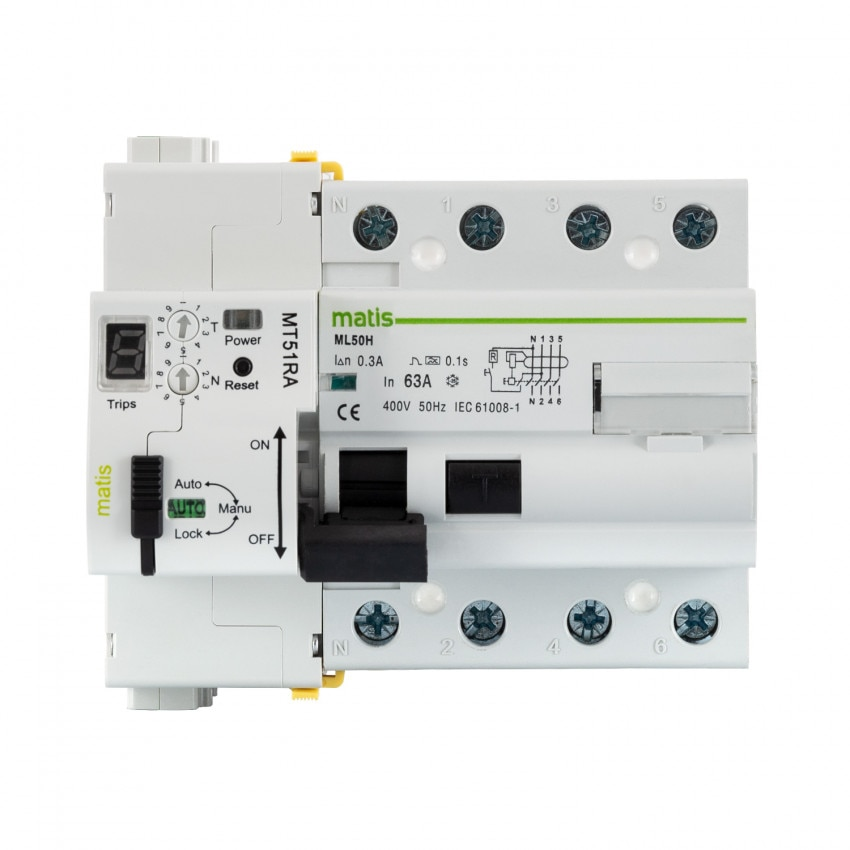 Interruptor Diferencial Rearmable Programable MAXGE RS485 4P-63A-300mA-10kA