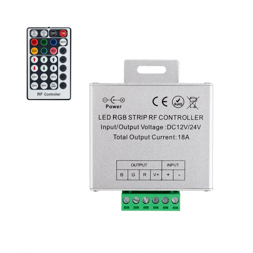 Controlador Regulador Tira LED RGB 12/24V DC con Mando RF High Power