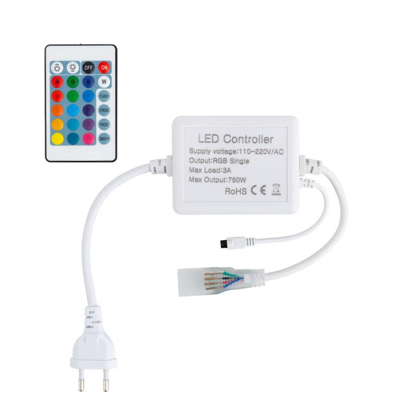 Controlador Fita LED RGB 220V Controlo Remoto IR 24 Botões