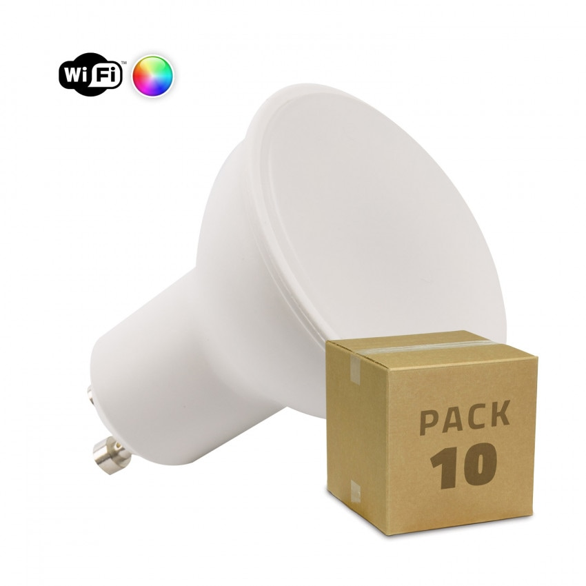 Pack 10 Lâmpadas LED WiFi TUYA GU10 Regulável RGBW 4W