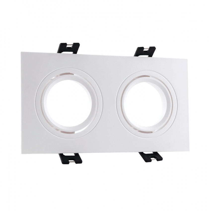 Aro Downlight Cuadrado Basculante PC para dos Bombillas LED GU10 / GU5.3