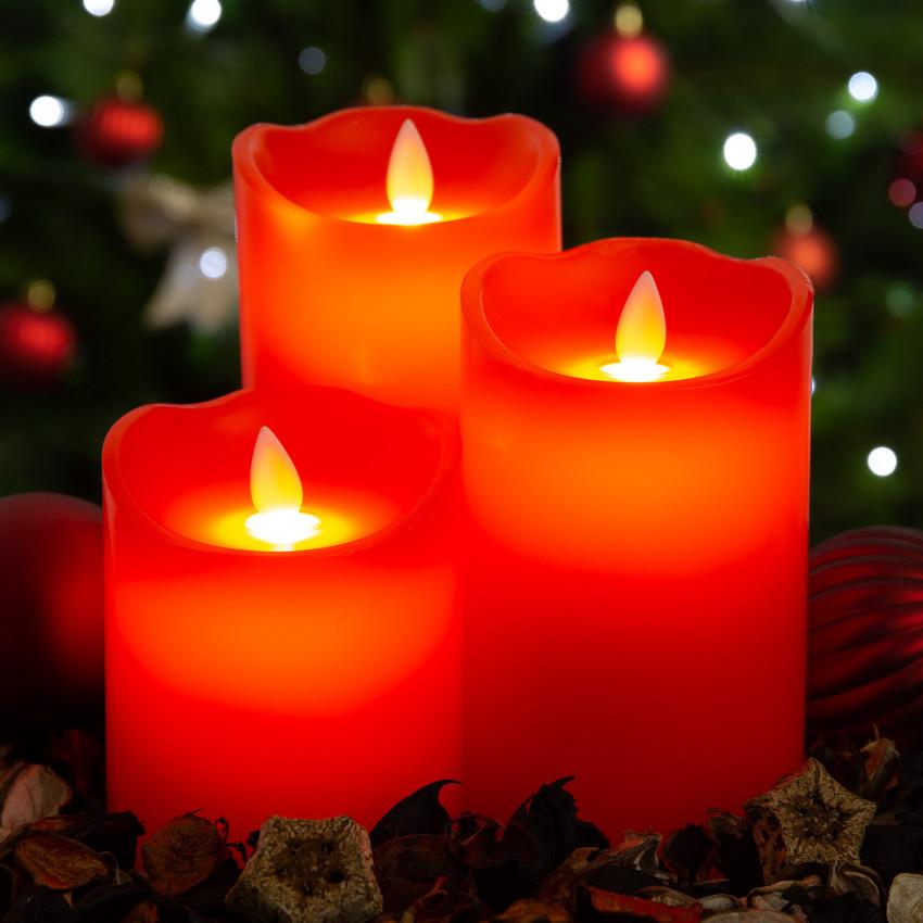 Pack de 3 Velas LED Cera Natural Special Flame Vermelho