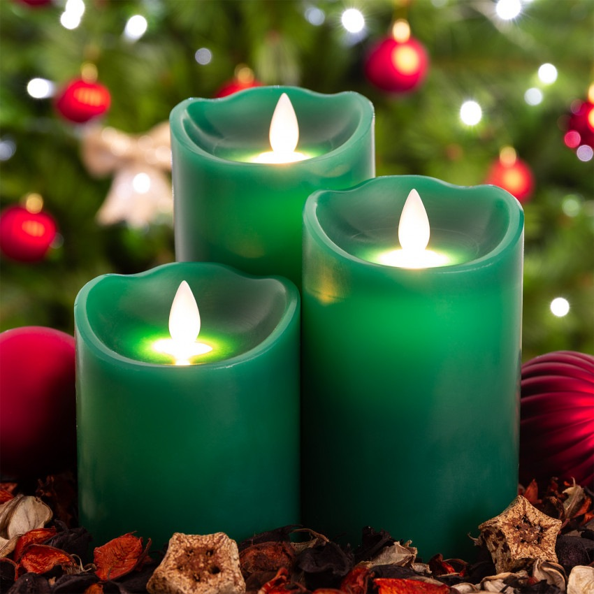 Conjunto de 3 Velas LED Cera Natural Special Flame Verde