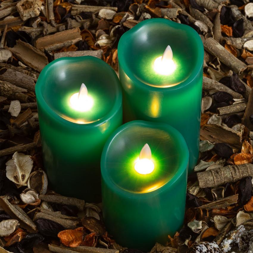 Pack de 3 Velas LED Cera Natural Special Flame Verde