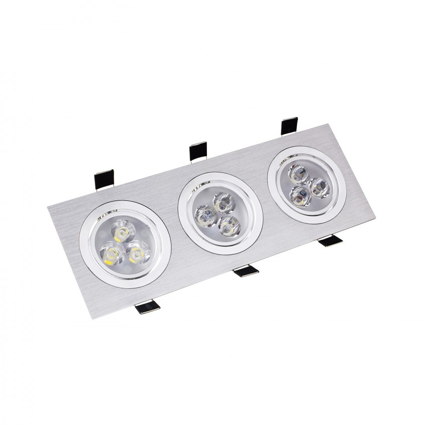 Foco Downlight LED 3x3x1W Direccionable Rectangular Corte 240x75 mm