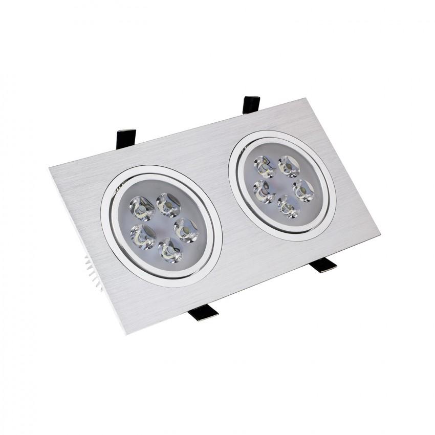 Foco Downlight LED Direccionável Retangular 2x5x1W Corte 2xØ 86 mm
