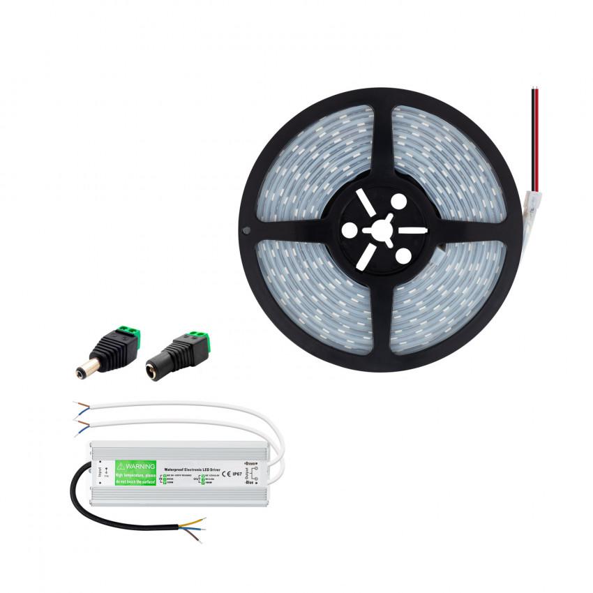 Kit Fita LED 12V 70W 120LED/m 5m IP67 com Fonte de Alimentação