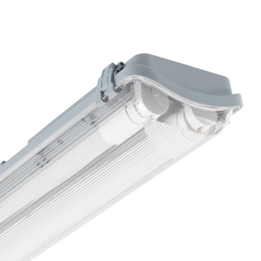 Armadura Hermética Slim para dois Tubos LED 600mm PC/PC Conexão Uni-Lateral