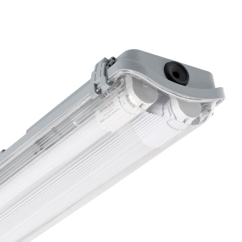Kit Armadura Hermética Slim com dois Tubos LED 1200mm Conexão Uni-Lateral