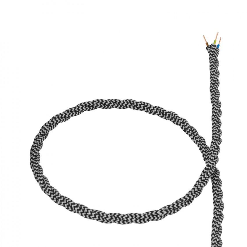 Cable Textil Trenzado Blanco y Negro