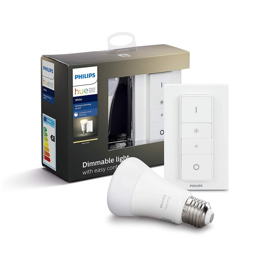 Kit de Regulación inalámbrica con 1 Bombilla LED E27 PHILIPS Hue White 9W