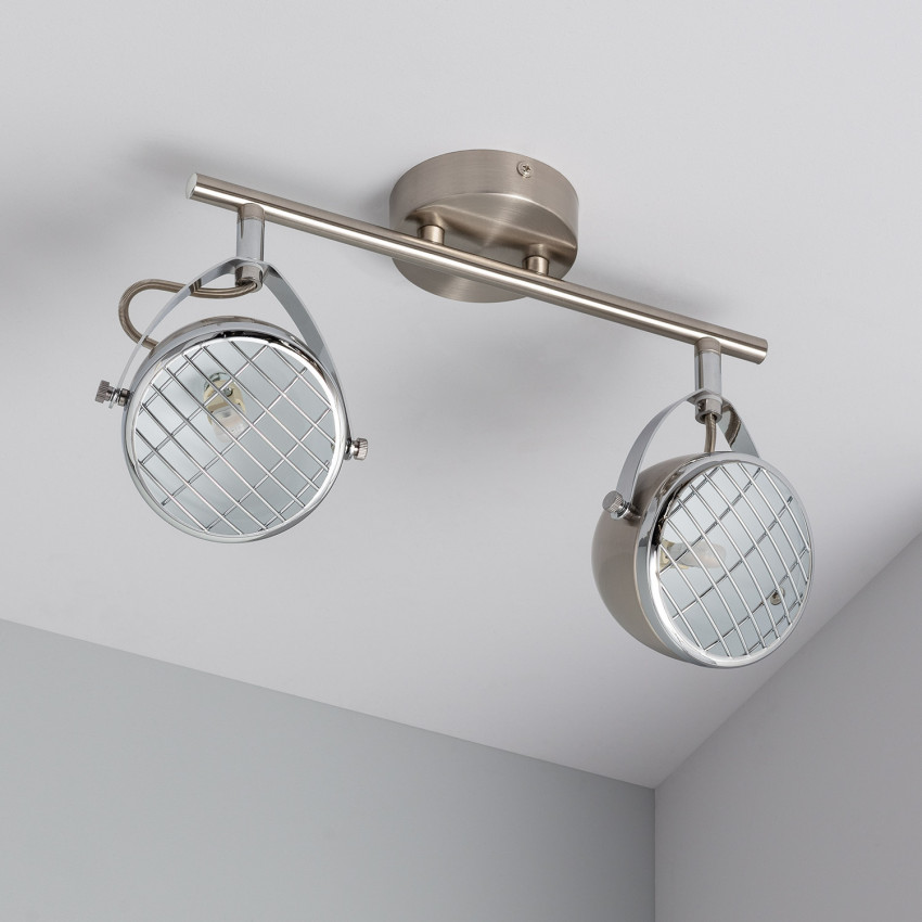 Lámpara de Techo Orientable Izga 2 Focos Plata