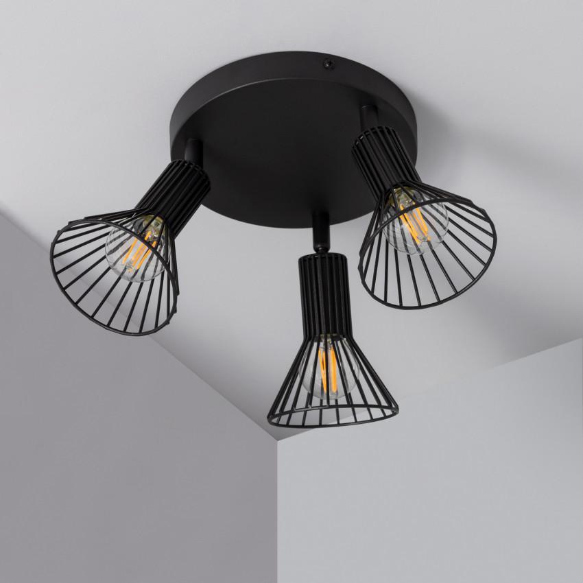 Lámpara de Techo Circular Orientable Royal 3 Focos Negro