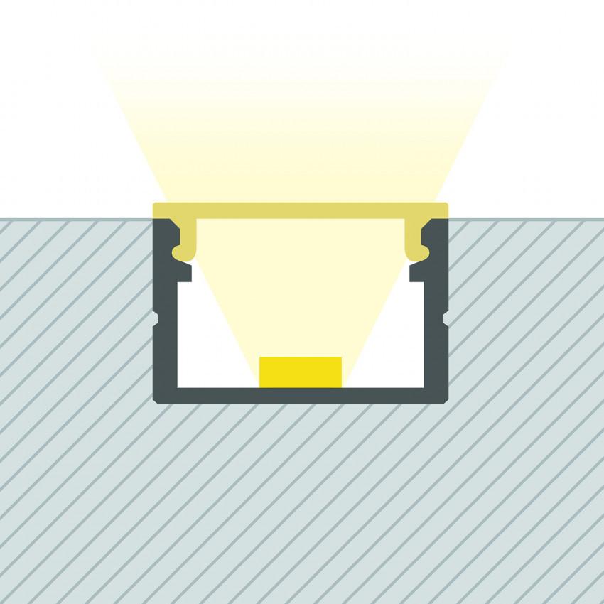 Perfil de Alumínio de Superfície com Cobertura Contínua para Fitas até 15 mm