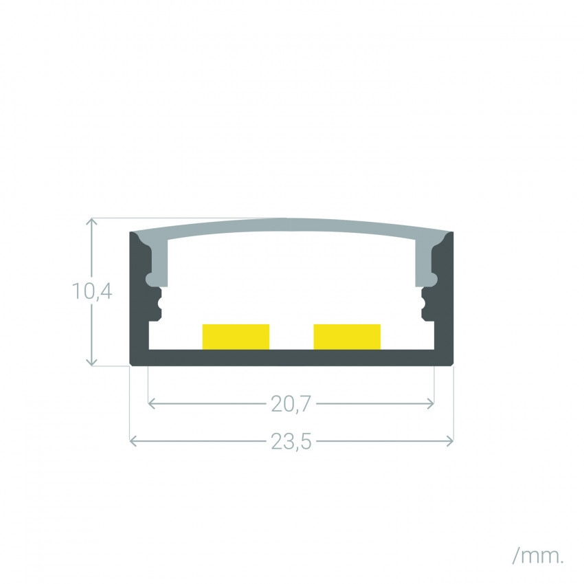 Perfil de Aluminio Superficie con Tapa Continua para Doble Tira LED hasta 20 mm