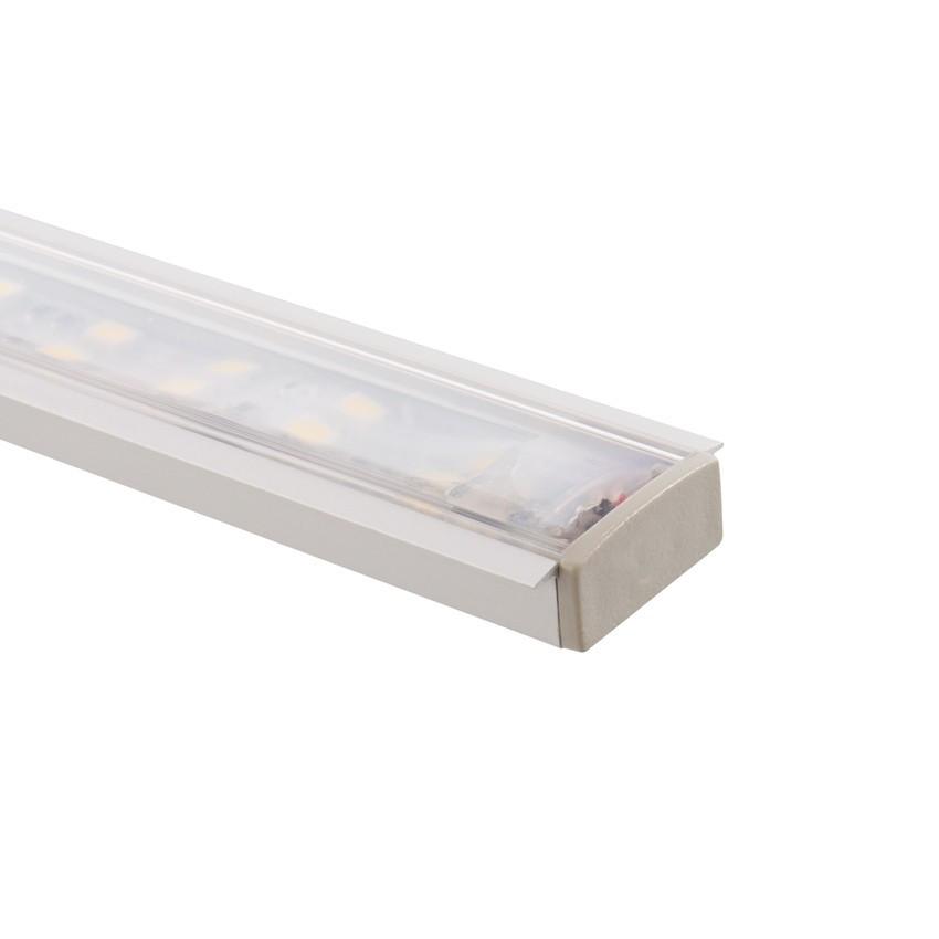 Perfil de alumínio encastrado Com Tampa Continua para fitas de LED Dupla