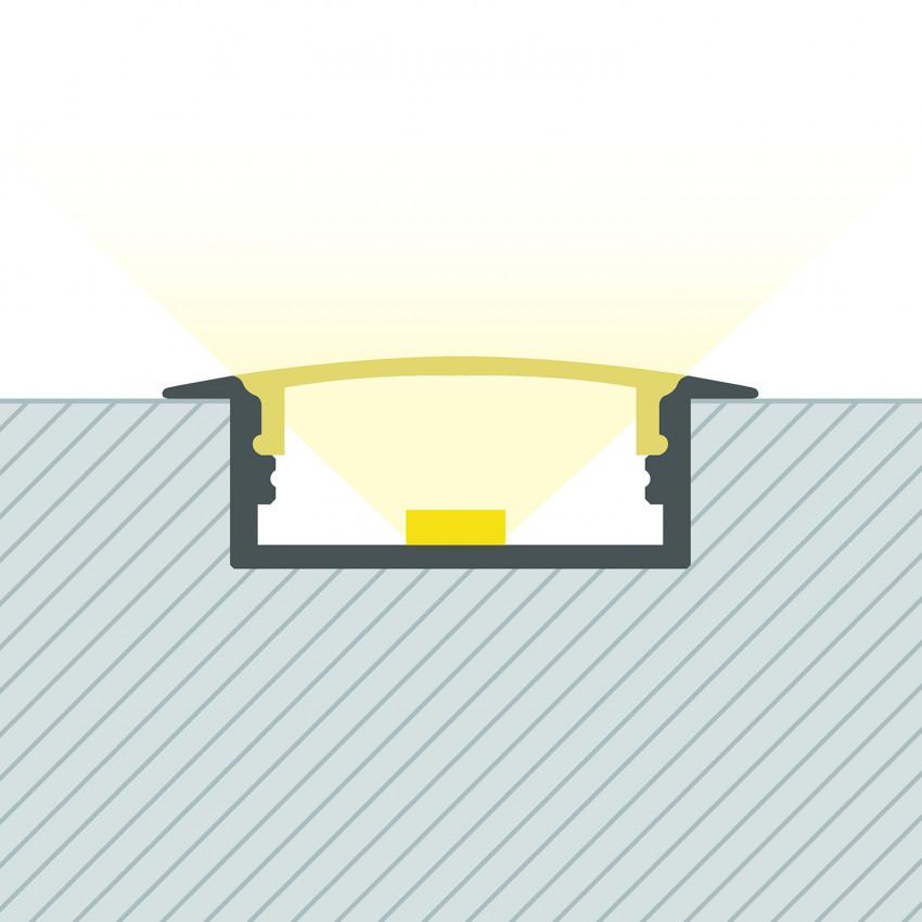 Perfil de Alumínio Encastrável Com Cobertura Continua para Fitas de LED Dupla Até 18mm