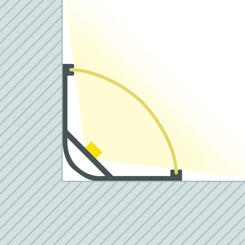 Perfil de Aluminio Esquina con Tapa Continua para Tira LED hasta 20 mm