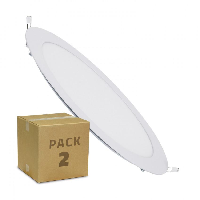 Pack 2 Placa LED 18W Circular Corte Ø 205 mm