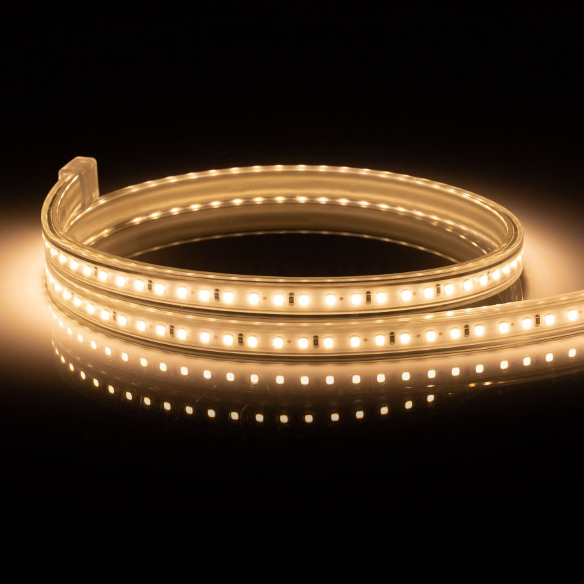Fita LED 220V AC 120 LED/m Branco Quente IP65 à medida Corte a cada 50 cm