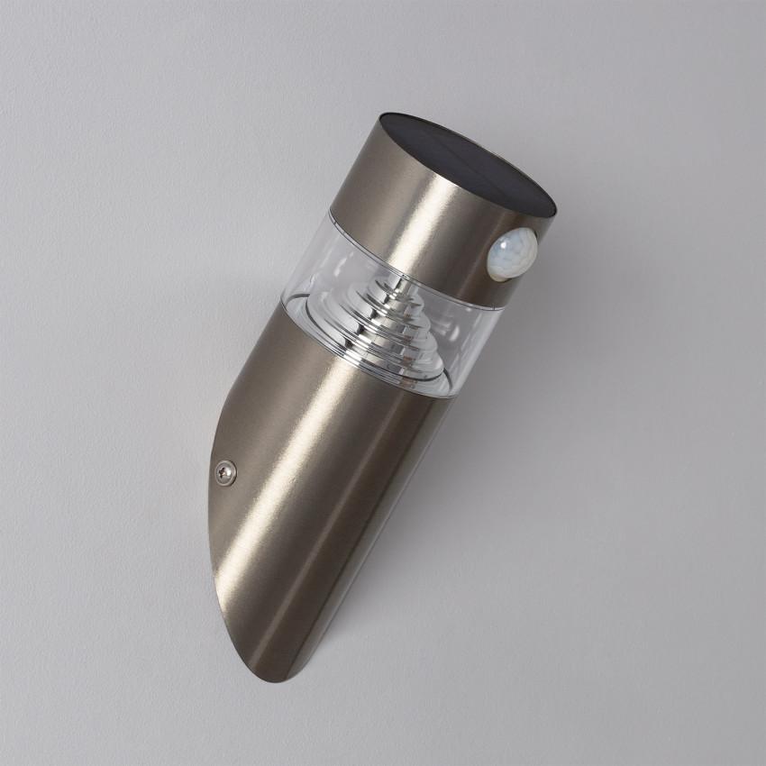 Aplique LED Solar Inti Inox com Detector de Movimento PIR