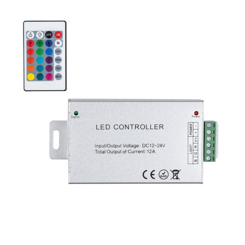Controlador Fita LED RGB 12/24V,  Dimmer por Comando à distância IR 24 Botões