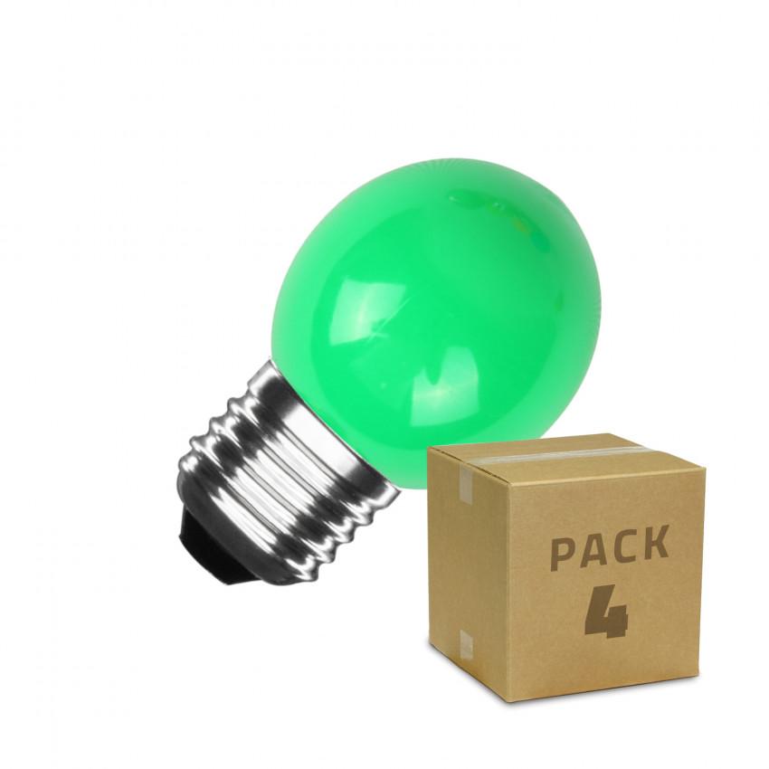 Pack de 4 Bombillas LED E27 G45 3W Verde
