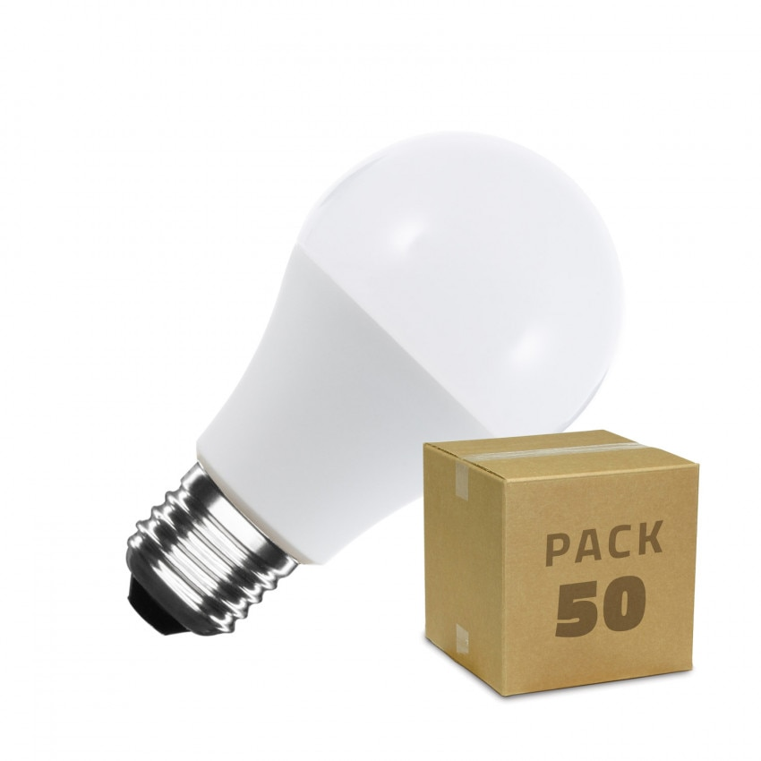 Caja de 50 Bombillas LED E27 A60 12W Blanco Cálido
