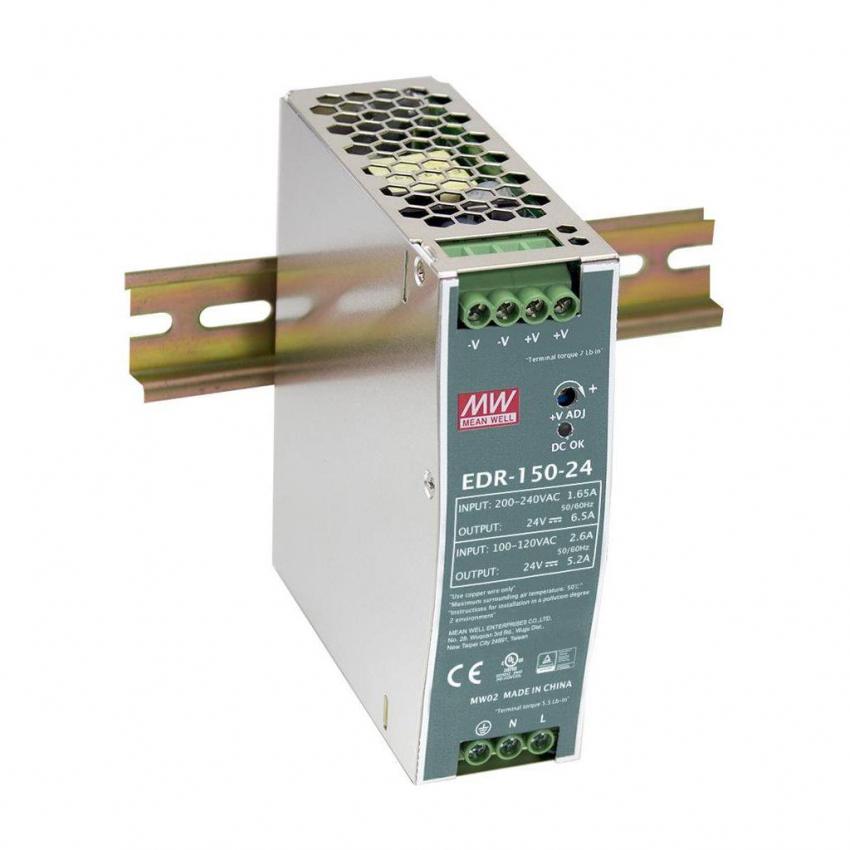 Fonte de Alimentação MEAN WELL 150W 24V 6.5A  EDR-150-24 para carril DIN