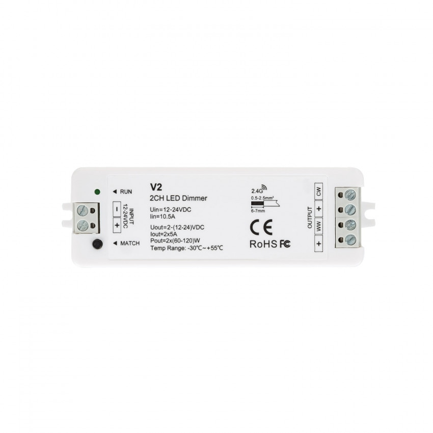 Controlador Regulador Tira LED CCT 12/24V DC 2 Canales compatible con Mando RF